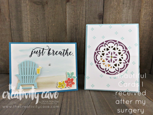 Beautiful Cards that I received after my surgery!  I had to share the inspiration!!! www.thecreativitycave.com #stampinup #thecreativitycave