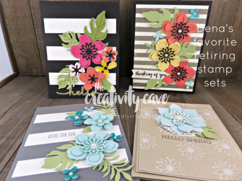 Botanical Blooms is one of MY FAVORITE stamp sets and the coordinating framelits are amazing!!!!  The black and white card is my FAV!!!  They are on the retiring list and discounted so it is a great deal!  Make sure to shop my online store www.thecreativitycave.com to get them while supplies last. #stampinup #thecreativitycave #botanicalblooms