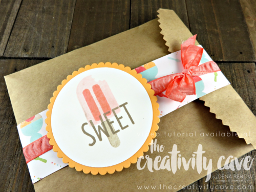 Check out the video tutorial on my blog for this adorable little treat bag that can hold anything from a set of note cards to a mini album or gift card using Stampin Up's Cool Treats stamp set and Sweet Treats DSP!  www.thecreativitycave.com #stampinup #thecreativitycave #cooltreats