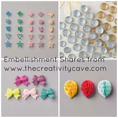 Embellishment Shares from The Creativity Cave:  Order Yours Today!!! www.thecreativitycave.com #stampinup #EmbellishmentShare #newcatalog