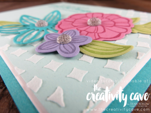 Check out the video for this gorgeous card and 3 more on my blog at www.thecreativitycave.com using Stampin Up's Falling Flowers Stamp Set and Embossing Paste! #stampinup #thecreativitycave #fallingflowersstampset #embossingpaste