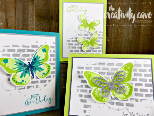 Check out the Facebook Live Video for this card plus several others using new products from the 2017-18 Stampin Up Annual Catalog #stampinup #thecreativitycave #fblive #embossingpaste #watercolorwings