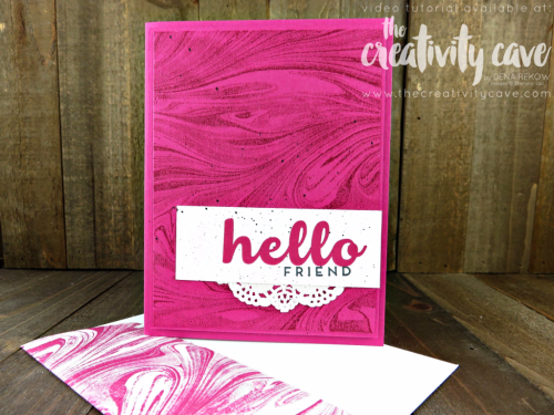 www.thecreativitycave.com Video tutorial for a set of beautiful cards using Stampin Up's Marbled Background, Hello Friend Stamp Set and the 2017-19 In Colors! #stampinup #thecreativitycave #creationstationbloghop