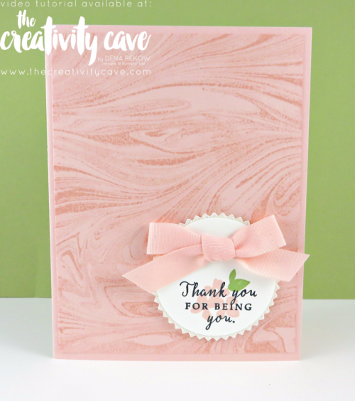 Check out the fun projects including this beautiful card using Stampin Up's Marbled Background Stamp and Hello Friend Stamp set during my Weekly Facebook Live--recording is on my blog at www.thecreativitycave.com #stampinup #thecreativitycave #marbled