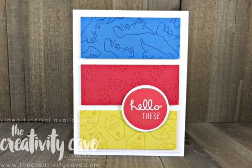 Join me as I teach you (complete with video tutorial) how QUICK AND EASY this card layout is!  Perfect for a kids card, but easily adaptable to any occasion card with a change of colors/images.  All found on my blog: www.thecreativitycave.com #stampinup #thecreativitycave #piecesandpatterns