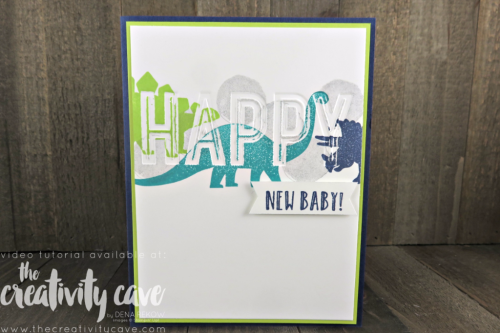 Check out the adorable Baby Card and gift ensemble I created with Stampin Up's No Bones About It and Happy Celebrations Stamp Set on my blog (including video tutorial) at www.thecreativitycave.com #stampinup #thecreativitycave #nobonesaboutit