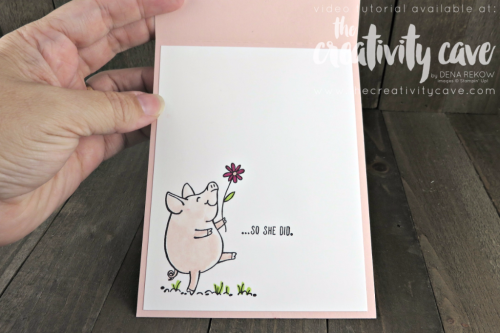 Check out the video for this card filled with tons of tips for using the This Little Piggy Stamp set from Stampin Up and Embossing Paste on my blog at www.thecreativitycave.com #stampinup #thecreativitycave #thislittlepiggy #embossingpaste #bigshot #aquapainters #Stitchedshapeframelits