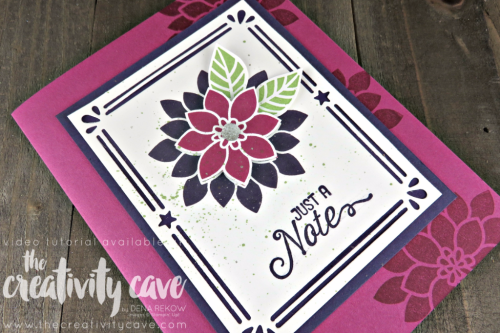Check out this and several more cards featured in my Facebook Live video on my blog filled with tips and tricks at www.thecreativitycave.com #stampinup #thecreativitycave #cardmaking #papercrafts #flourishingphrases #cardbuilderframelits
