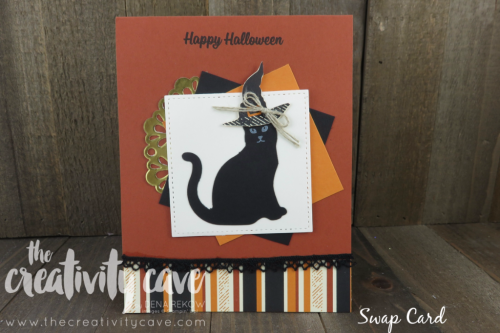 Swap cards I received using SPOOKY CAT Bundle from Stampin Up!  More inspiration with a video tutorial on my blog with this set at www.thecreativitycave.com #stampinup #spookycat #thecreativitycave #halloween