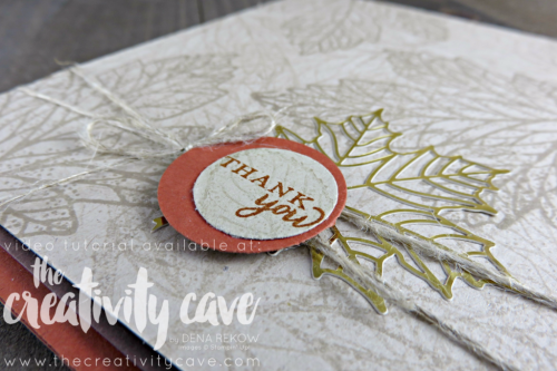 Video Tutorial for this beautifully simple card created with Stampin Up's Paper Pumpkin Kit, Layered Leaves, on my blog at www.thecreativitycave.com #stampinup #thecreativitycave #paperpumpkin #apaperpumpkinthing #fall #handmadegreetingcards #subscriptionbox #rubberstamping #papercrafts #diy