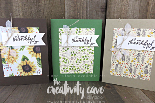 Check out the Video Tutorial for this and 6 MORE projects using Stampin Up's Painted Harvest Stamp Set and Painted Autumn DSP (printed paper) on my blog at www.thecreativitycave.com #stampinup #thecreativitycave #cardmaking #rubberstamping #papercrafting #DIY #handmadegreetingcards #Printedpaper #paintedautumn #thankful #paintedautumndsp #thankyoucards