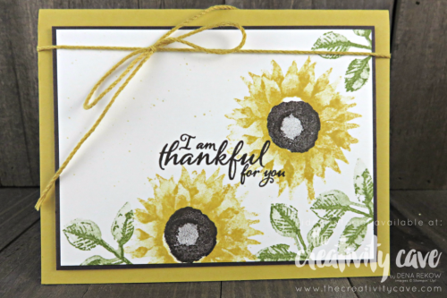 Check out the Video Tutorial for this and 6 MORE projects using Stampin Up's Painted Harvest Stamp Set on my blog at www.thecreativitycave.com #stampinup #thecreativitycave #cardmaking #rubberstamping #papercrafting #DIY #handmadegreetingcards #Printedpaper #paintedautumn #thankful #thankyoucards