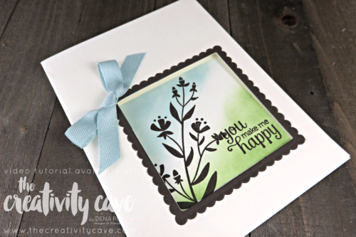 Check out the Video Tutorial for this and 6 MORE projects using Stampin Up's Flirty Flowers and the window is created with the Layering Squares Framelits on my blog at www.thecreativitycave.com #stampinup #thecreativitycave #cardmaking #rubberstamping #papercrafting #DIY #handmadegreetingcards #Flirtyflowers #happy #windowcard #mask