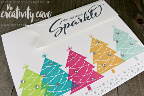 Check out the video tutorial for this SUPER simple and fun Christmas Card using Stampin Up's Season to Sparkle on my blog at www.thecreativitycave.com #stampinup #thecreativitycave #seasontosparklestampset #ChristmasCard #handmadegreetingcards #rubberstamping