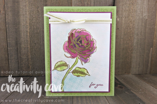 Amazing video with lots of tips and tricks on my blog along with another project showcasing Emboss Resist Watercolor Techniques using Stampin Up's You Deserve This and Graceful Garden Stamp Sets at www.thecreativitycave.com #stampinup #thecreativitycave #watercolor #youdeservethis #gracefulgarden #embossresist #creationstationbloghop #cardmaking #handmadegreetingcards