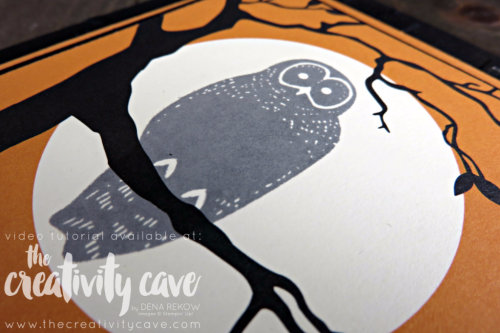 Check out the fun tutorial for making this adorable Halloween Card using Stampin Up's Spooky Cat Stamp Set and Spooky Night Designer Series Paper on my blog at www.thecreativitycave.com #stampinup #spookycat #halloween #handmadegreetingcards #owls #woodlandembossingfolder