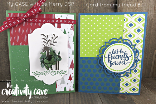 Check out the cute card I CASED from my friend BJ to create a fun Christmas Card using the Lots of Labels Framelits, Be Merry DSP, and Merry Mistletoe Stamp set! Video Tutorial on my blog: www.thecreativitycave.com #stampinup #thecreativitycave #bemerryDSP #merrymistletoe #Lotsoflabels