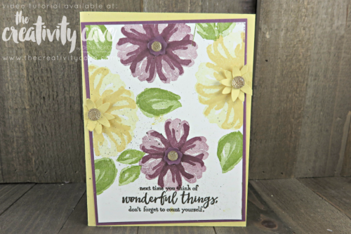 Check out this and 2 other cards on this week's FB Live Replay on my blog featuring Stampin Up's Climbing Orchid, Birthday Delivery, Bunch of Blossoms and Just add Text Stamp Sets as well as our new Stampin Blends Alcohol Based Markers at www.thecreativitycave.com #stampinup #thecreativitycave #stampinupdemo #stampinblends #bunchofblossoms #justaddtext