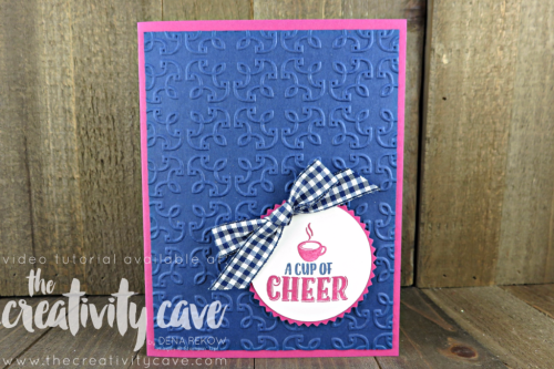 Check out the FaceBook Live Replay and the 4 different cards I created using Stampin Up Products including this adorable card on my blog at www.thecreativitycave.com #stampinup #thecreativitycave #handmadegreetingcards #cardmaking #rubberstamping #merrycafe #starburstpunch #gardentrellisembossingfolder