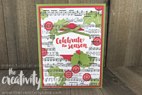 Check out the FaceBook Live Replay and the 4 different cards I created using Stampin Up Products including this adorable card on my blog at www.thecreativitycave.com #stampinup #thecreativitycave #handmadegreetingcards #cardmaking #rubberstamping #tagsandtrimmingsbundle #christmas #christmascards #merrymusicdsp #everydaylabelpunch