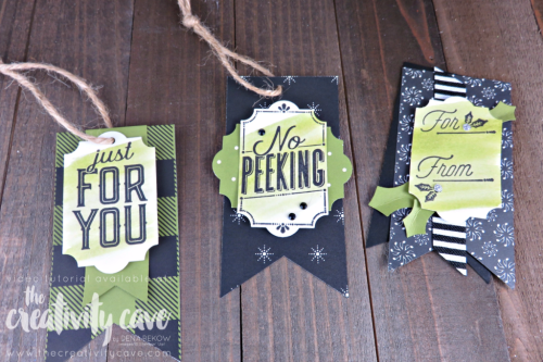 Christmas Tags!!  Video tutorial for these three simple tags on my blog at www.thecreativitycave.com #stampinup #everydaylabelpunch #christmas #tags #easy #merrymusicdsp