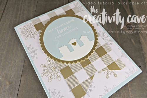 Create this simple and stunning Christmas card when you watch the video tutorial on my blog at www.thecreativitycave.com #stampinup #thecreativitycave #christmascards #heartscomehome #yearofcheerdsp #cardmaking #rubberstamping #create #handmadegreetingcards