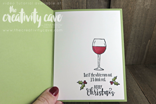 Check out the video tutorial for this adorable card using Stampin Up's Half Full Stamp set combined with our new Stampin Blends Markers on my blog at www.thecreativitycave.com #stampinup #thecreativitycave #SIPChallenge #HalfFullStampSet #StampinBlends #Videotutorial #starburstpunch #wine #girlfriends #giftidea #handmadegreetingcards