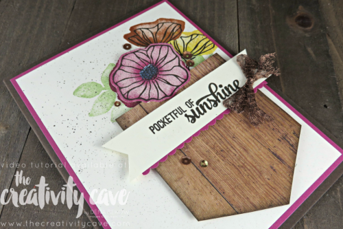 Check out my take on this fun challenge including a video tutorial (and an explaination of how it works!) on my blog using Stampin Up's Pocket of Sunshine and Oh So Eclectic Stamp Sets at www.thecreativitycave.com #stampinup #thecreativitycave #sipchallenge #handmadegreetingcards #create #woodtexturesdsp