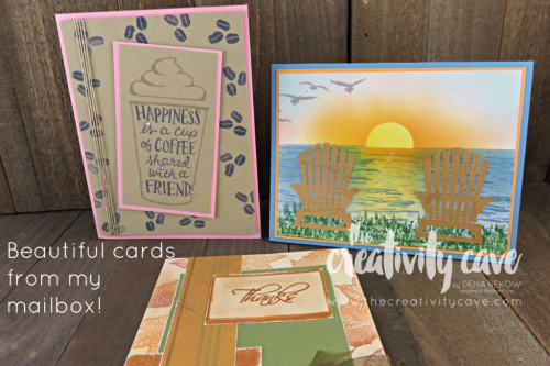 Beautiful cards from my mailbox! www.thecreativitycave.#stampinup #thecreativitycave #handmadegreetingcards