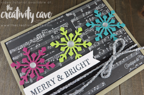 I LOVE this adorably fun card using the Trim Your Stocking Framelits and the Merry Music DSP --check out the video tutorial on my blog at www.thecrativitycave.com #stampinup #thecreativitycave #handmadegreetingcards #christamas #rubberstamping #bigshot #cardmaking