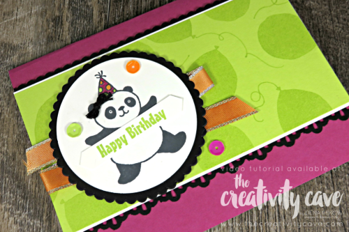 Check this adorable card (with video tutorial) using Stampin Up's Party Pandas Stamp set on my blog at www.thecreativitycave.com #stampinup #partypandas #thecreativitycave #handmadegreetingcards #wwyschallenge #create #crafting #diy #rubberstamping #stamping #cardmaking