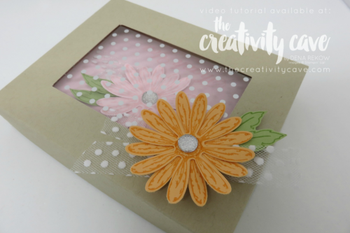 Check out the fantastic video tutorial for this gorgeous box with a window lid on my blog featuring Stampin Up's Daisy Delight Bundle at www.thecreativitycave.com #stampinup #thecreativitycave #papercrafts #handmade #greetingcards #creativity