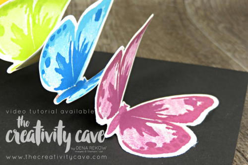 Check out the video tutorial with some AMAZING tips and tricks for using Stampin Up's Watercolor Wings Stamp set and the new Stamparatus Stamp Positioning Tool!  And Wait until you see the inside of this card!!  www.thecreativitycave.com  #stampinup #stamparatus #bloghop #thecreativitycave #videotutorial #cardmaking #papercrafts #handmadegreetingcards #bigshot #lotsofhappycardkit #fun #creativity