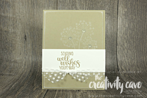 Check out the video tutorial for my card for this sketch featuring Stampin Up's Dandelion Wishes Stamp Set on my blog, www.thecreativitycave.com #stampinup  #thecreativitycave #dandelionwishesstampset #quickandeasy #cardmaking #papercrafts #diy #rubberstamping