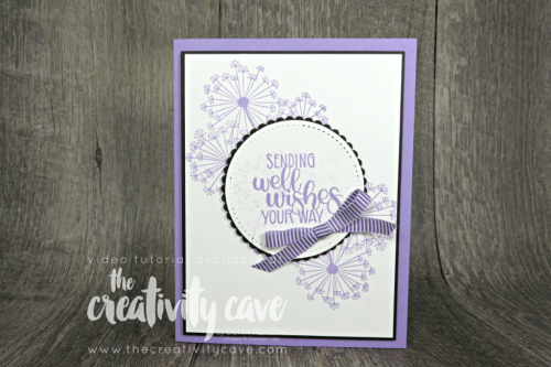 Check out the video tutorial for this and 5 other cards (!) on my blog at www.thecreativitycave.com #stampinup #caradmaking #paper #handmade #stampinup #thecreativitycave #dandelionwishes #bigshot #stitchedshapeframelits