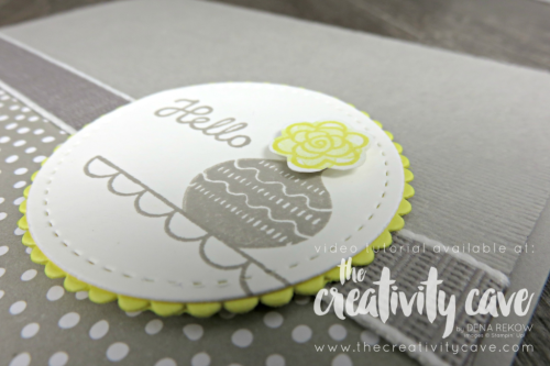 Check out the video tutorial for this and 5 other cards (!) on my blog at www.thecreativitycave.com #stampinup #caradmaking #paper #handmade #stampinup #thecreativitycave #variedvases #bigshot #stitchedshapeframelits