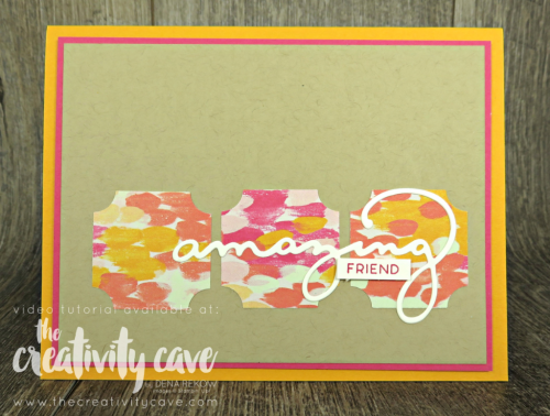 Check out the video tutorial for this and 5 other cards (!) on my blog at www.thecreativitycave.com #stampinup #caradmaking #paper #handmade #stampinup #thecreativitycave #darlinglabelpunchbox #celebrateyouthinlits #gardenimpressionsdsp