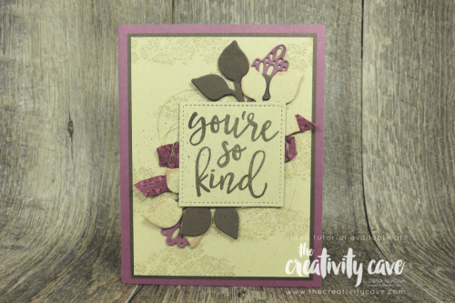 Check out the video tutorial for this and another card featuring Stampin Up's Falling for Leaves Bundle on my blog at www.thecreativitycave.com #stampinup #thecreativitycave #fallingforleaves #handmade #thankyou #worldcardmakingday #GalleryGrungeStampSet