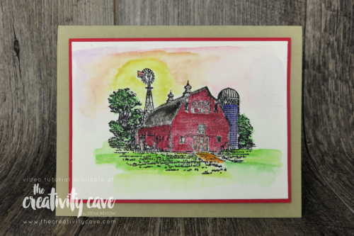 Check out this card and 2 others from my FB Live video on my blog at www.thecreativitycave.com featuring Stampin Up's Watercolor Pencils Assortment 2 and the Heartland Stamp set! #stampinup #thecreativitycave #fblive #watercolor #heartlandstampset #handmadegreetingcards
