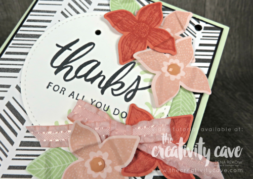 Great video tutorial featuring this and two more cards featuring printed papers from Stampin Up on my blog at www.theceativitycave.com #stampinup #thecreativitycave #printedpaper #cardmaking #handmadegreetingcards #popofpetals