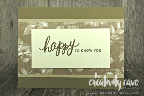 Great video tutorial featuring this and two more cards featuring printed papers from Stampin Up on my blog at www.theceativitycave.com #stampinup #thecreativitycave #printedpaper #cardmaking #handmadegreetingcards #naturespoem #friendlyexpressions