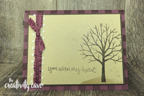 Great fall cards on my blog with video tutorial (this plus another) featuring Stampin Up's Sheltering Tree, Buffalo Check Background, Falling for Leaves and Warm Hearted Stamp Sets at www.thecreativitycave.com #stampinup #thecreativitycave #cardmaking #withgratitude  #shimmerpaint #buffalochecck #shelteringtree #fallingforleaves