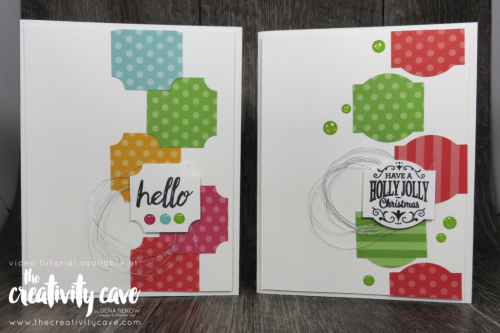 Check out the awesome cards from my Oct 1 2018 Facebook Live including this and several others at www.thecreativitycave.com #stampinup #thecreativitycave #cardmaking #paper #cardkits #abstractimpression #subtleembossingfolder #darlinglabelpunch #Christmastraditionspunch #BeautifulBaubles