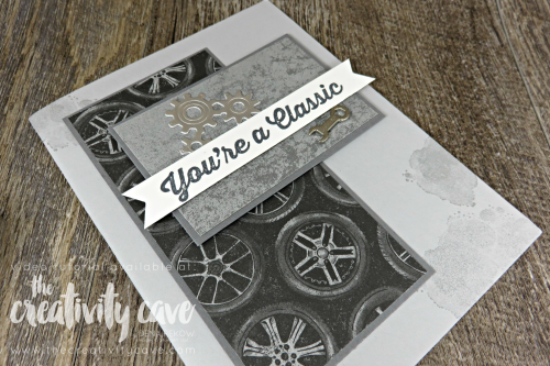 Check out my post featuring this card layout and tips for making cards quicker on my blog: www.thecreativitycave.com #stampinup #onlinecardclass #thecreativitycave #cardmaking #papercrafts #diy #gearedupgarage #mancards #masculine