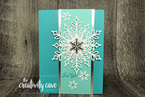 Check out the great Snow is Glistening Card Video Tutorial on my blog featuring Stampin Up's Snowflake Showcase at www.thecreativitycave.com #stampinup #snowflakeshowcase #snowisglistening #embossingmats #cardmaking #makingchristmasbright