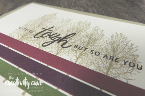 Check out this and 2 more beautiful cards created using Stampin UP's First Frost, Winter Woods and Falling for Leaves Stamp Sets on my blog at www.thecreativitycave.com #stampinup #videotutorial #thecreativitycave #winterwoods #friendlyexpressions
