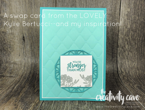 The inspiration for my next card came from the LOVELY Kylie Bertucci, whose swap card this is--so fun! Check out my blog to see the video and my take on this awesome design at www.thecreativitycave.com #stampinup #thecreativitycave #beautifulpromenade