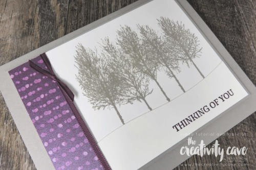 Check out my blog for a video tutorial for a gorgeously simple card made using Stampin Up's Winter Woods stamp Set and coordinating Framelits at www.thecreativitycave.com #stampinup #thecreativitycave #winterwoods #frostedfloralsdsp #printedpaper #bigshot