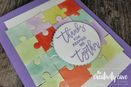 FB Live Sept 24 2018 Christmas, Puzzles, Punches and Dandelions Oh My! Video tutorial on my blog for this anf 4 more cards! www.thecreativitycave.com #stampinup #thecreativitycave #rubberstamping #handmade #create