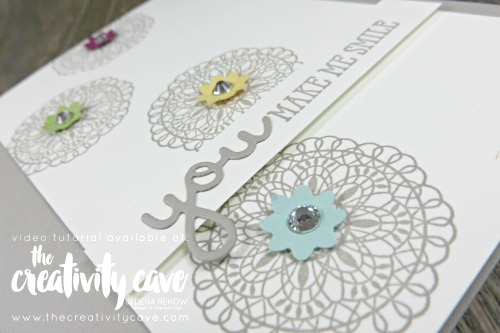 Check out the video tutorial on my blog for this and 5 other cards featuring Stampin Up Products! #thecreativitycave #stampinup #occasionscatalog #fblive #handmade #cardmaking #rubberstamping #hellodoily #bittybloomdpunchpack